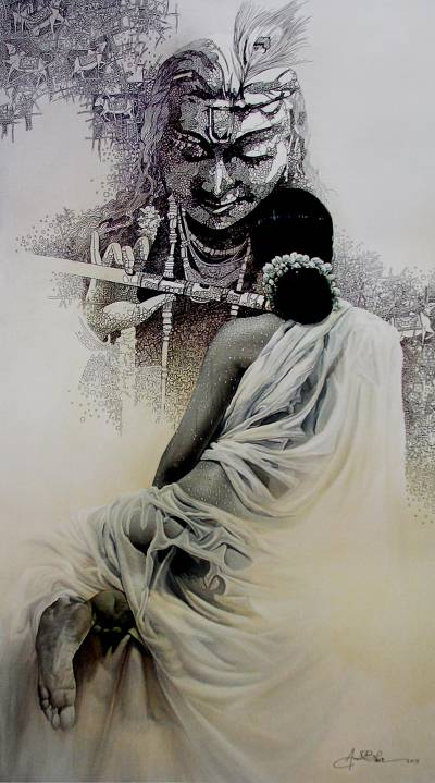 Giclée print, 'Radha Krishna' by Amit Bhar - Collectible India Hindu Fine Art Archival Print