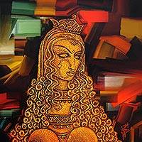 Giclee print on canvas, 'Lady II' by Chelian - India Mysterious Woman Portrait Giclee Print on Canvas