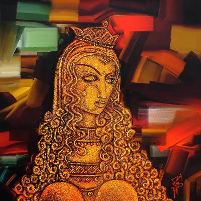India Mysterious Woman Portrait Giclee Print on Canvas