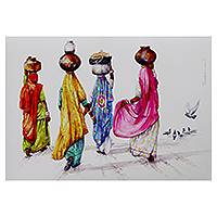 Giclée print, 'Villagers' by Siva Balan - Colorful Fine Art Print from India