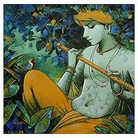 Giclée print on canvas, 'Tune of Love' by Subrata Das - Krishna Color Archival Art Print on Canvas
