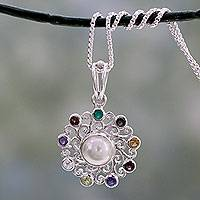 Multi-gemstone pendant necklace, 'Rainbow Halo' - Handcrafted Silver Necklace with Cultured Pearl and Gems