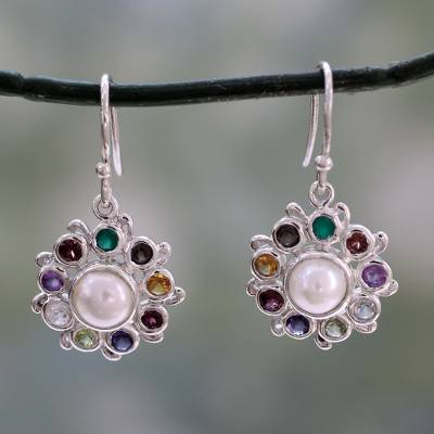 Multi-gemstone dangle earrings, 'Rainbow Halo' - Silver Earrings Handcrafted with Cultured Pearl and Gems