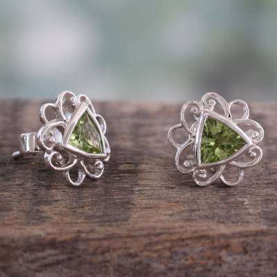 Peridot button earrings, 'Delhi in Green' - Peridot and Sterling Silver Handcrafted Button Earrings