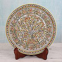 Marble decorative plate, 'Mughal Garden' - Hand Painted Marble Display Plate and Stand with 22k Gold