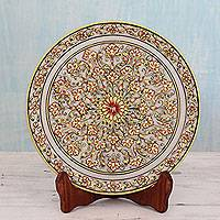 Marble decorative plate, 'Exotic Floral Splendor' - Floral Theme Marble Display Plate with 22k Gold and Stand
