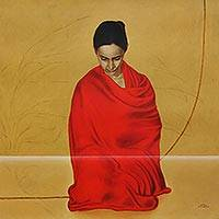 Giclee print on canvas, 'Still Silent III' by CF John - Indian Woman in Red Sari Collectible Giclee Print on Canvas