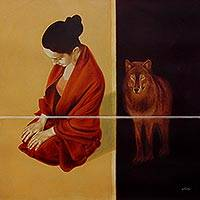Giclee print on canvas, 'Still Silent I' by CF John - Fine Art Giclee Print of Woman Meditating near Wolf