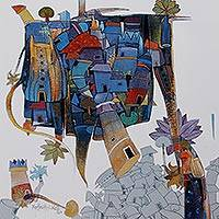 Giclée print on canvas, 'Imagination I' by Manjunath Wali - Surreal Indian Village Signed Archival Print on Canvas