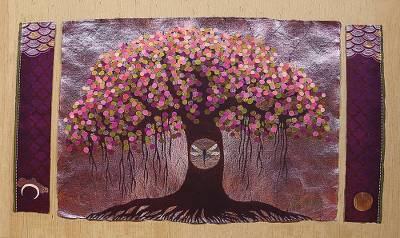 Giclee print on canvas, 'Tree of Life II' by Anjali Sapra - Color Collectible Giclee Print on Canvas from India