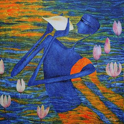 Giclee print on canvas, 'Krishna II' by Bharti Prajapati - India Color Giclee Print on Canvas Depicting Krishna