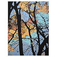 Giclee print on canvas, 'Bustling Trees' by Milind Nayak - Giclee Print Artists Collectible Landscape Painting