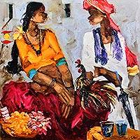 Giclee print on canvas, 'Badami Series I' by J.M.S. Mani - India Expressionist Portrait Giclee Print on Canvas