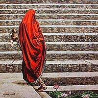 Giclee print on canvas, 'Devotion' by M. Rama Suresh - India Woman's Portrait Giclee Print on Canvas