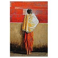 Giclee print on canvas, 'All Alone' by M. Rama Suresh - India Portrait of a Boy in Giclee Print on Canvas