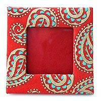 Handmade paper photo frame, 'Paisley in Motion' (2x2 in) - 2x2 inch Photo Frame Crafted from Handmade Paper