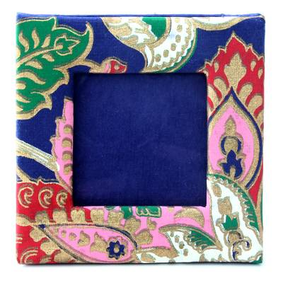 Handmade paper photo frame, 'Floral Garden' (2x2 in) - Floral Photo Frame Crafted of Handmade Paper (2x2 In)