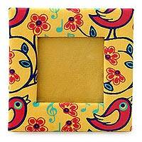 Handmade paper photo frame, 'Chirpy Birds' (2x2 in) - Yellow Print Photo Frame Made from Handmade Paper (2x2 In)