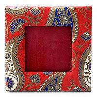 Handmade paper photo frame, 'Paisley Romance' (2x2 in) - Red and Blue Paisley Print Handmade Photo Frame (2x2 In)