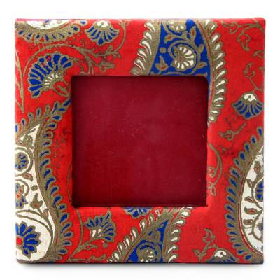Red and Blue Paisley Print Handmade Photo Frame (2x2 In)