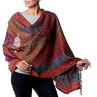 Wool shawl, 'Modern Paisley Party' - Striped Multi-Color Floral Paisley Wool Shawl from India