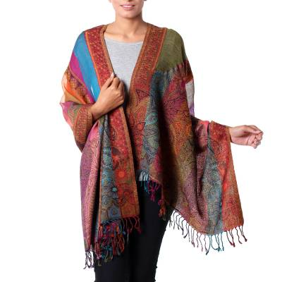 Wool shawl, 'Modern Paisley Rainbow' - Striped Multicolor Floral Paisley Wool Shawl