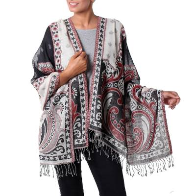 Jamawar wool shawl, 'Agra Night' - Dramatic Indian Wool Shawl in Black and White with Red