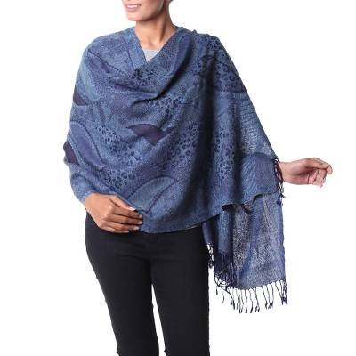 Jamawar wool shawl, 'Blue Splendor' - Blue Wool Jamawar Style Shawl from India