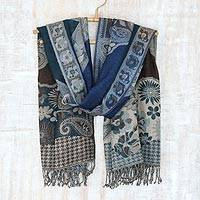 Jamawar wool shawl, 'Subtle Splendor' - Teal and Grey Tone India Jamawar Replica Wool Shawl