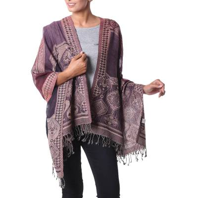 Jamawar wool shawl, 'Exotic Wine' - Lilac and Burgundy Geometric Jamawar Style Wool Shawl