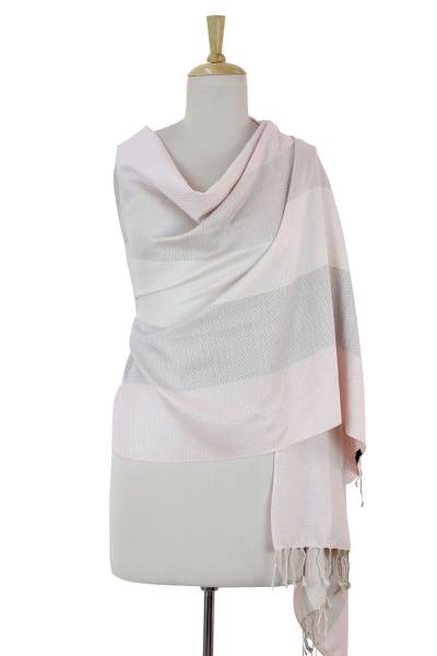Silk shawl, 'Rose Tonalities' - Indian Handwoven Pink and Taupe Silk Shawl