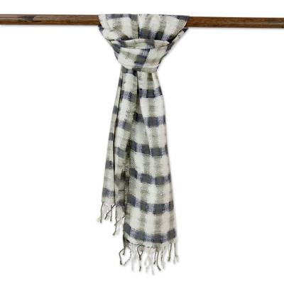 Men's silk scarf, 'Handsome Bhagalpuri' - Handwoven Indian Eri Silk Men's Scarf in Olive and Ivory