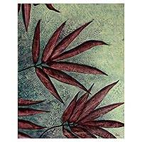 'Forest Bamboo' - Burgundy Bamboo Leaves on Green Signed Painting