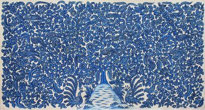 Signed India Kalamkari Folk Art Nature Painting in Blue