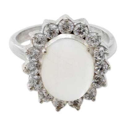 Moonstone and Cubic Zirconia Sterilng Silver Cocktail Ring