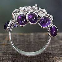 Amethyst cluster ring, 'Festive Style' - India Artisan Crafted Sterling Silver Ring with 10 Amethysts