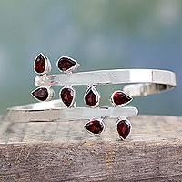 Garnet cuff bracelet, 'Red Forest Fern'
