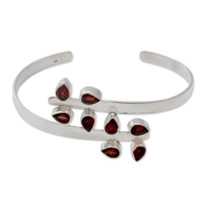 Sterling Silver Cuff Garnet Bracelet Modern Jewelry