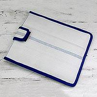 Upcycled fire hose tablet sleeve, 'Conserving Nature' - Upcycled Fire Hose 9-inch Tablet Sleeve in White and Blue