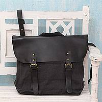 Upcycled cotton and leather accent satchel Environmentalist India