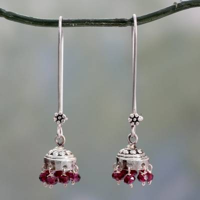Garnet dangle earrings, 'Bride of India' - Sterling Silver and Garnet Jhumki Earrings from India