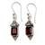 Garnet dangle earrings, 'Red Lantern' - Handcrafted Indian Sterling Silver and Garnet Earrings (image 2a) thumbail
