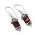 Garnet dangle earrings, 'Red Lantern' - Handcrafted Indian Sterling Silver and Garnet Earrings (image 2b) thumbail