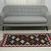 Wool dhurrie rug, 'Floral Gala' (3x5) - Colorful Flower Design on Hand Woven Wool Dhurrie Rug (3x5)