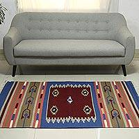 Wool dhurrie rug, 'Perfect Harmony' (4x6) - Multi Color Wool Dhurrie Rug Hand Woven in India (4x6)