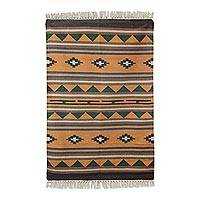Wool dhurrie rug, 'Earthen' (4x6) - Hand Woven Wool Area Rug in Warm Earthy Colors (4x6)