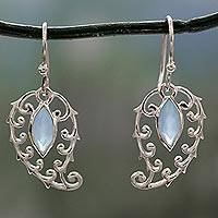 Chalcedony dangle earrings, 'Shimmering Boteh' - Indian Chalcedony on Sterling Silver Paisley Earrings