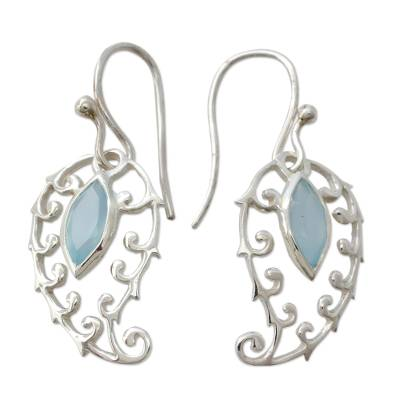 Indian Chalcedony on Sterling Silver Paisley Earrings