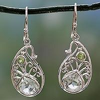 Prasiolite and peridot dangle earrings,