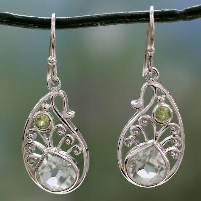 Prasiolite and peridot dangle earrings, 'Dazzling Boteh' - Sterling Silver Paisley Earrings with Prasiolite and Peridot